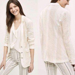 Anthro Cartonnier Lupe Lace Ivory Blazer Jacket Co